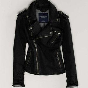 American Eagle dark wash Denim Moto biker jacket